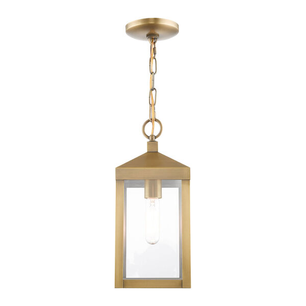 Nyack Antique Brass One-Light Outdoor Pendant Lantern, image 3