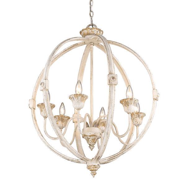 Jules Antique Ivory Six-Light Chandelier, image 4