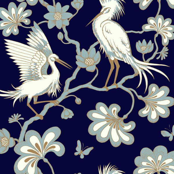 Florence Broadhurst Navy Egrets Wallpaper, image 2