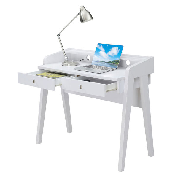 Newport White Deluxe Two-Drawer Desk, image 1