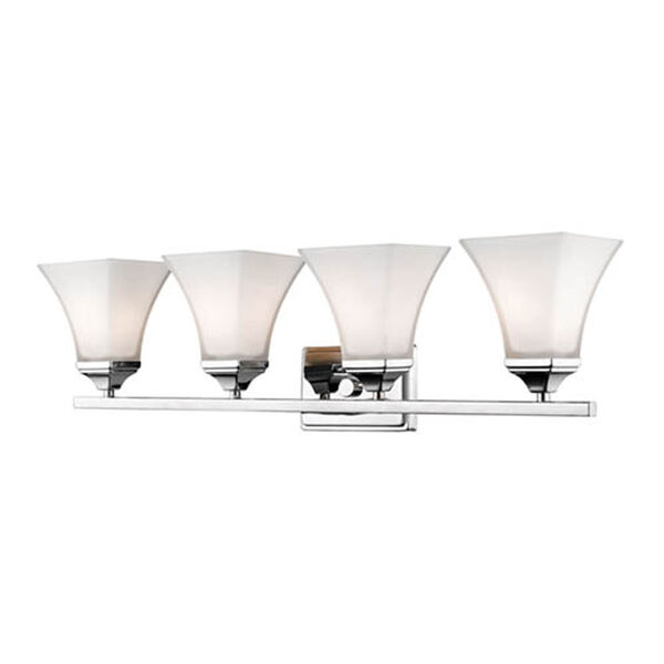Chrome Four-Light Vanity with Etched White Glass, image 1