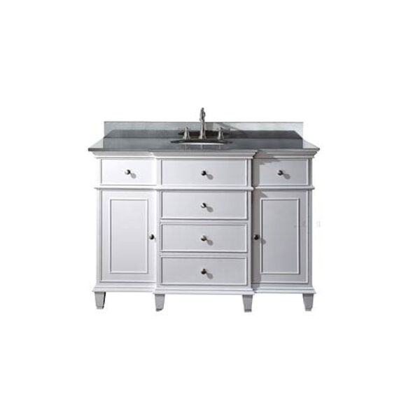 Windsor 48-Inch White Vanity with Black Granite top and Undermount Sink, image 1