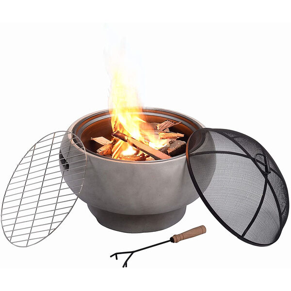 Light Grey Outdoor 21-Inch Round Concrete Wood Burning Fire Pit, image 4