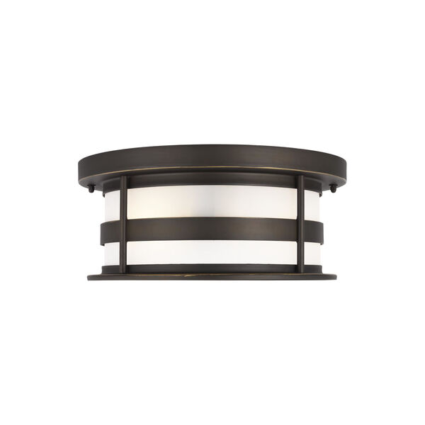 Wilburn Antique Bronze Two-Light Outdoor Flush Mount with Satin Etched Shade Energy Star, image 1