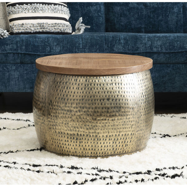 Leah Gold Drum with Storage Table, image 3