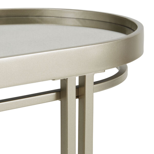 Samantha Champagne Silver Oval Antique Mirror Top Sofa Table, image 4