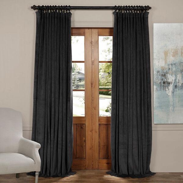 Gunmetal Gray 120 x 100-Inch Doublewide Blackout Velvet Curtain, image 1