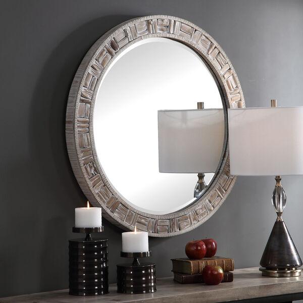 Del Mar Solid Wood Round Mirror, image 1
