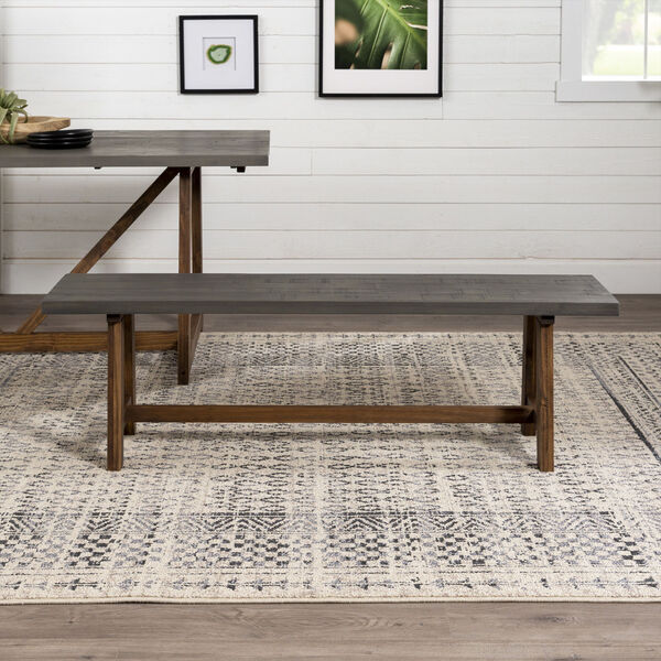 Brennan Gray and Brown Dining Bench, image 3