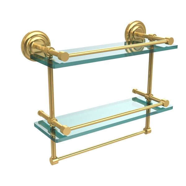 16 Inch Gallery Double Glass Shelf with Towel Bar, Unlacquered Brass, image 1