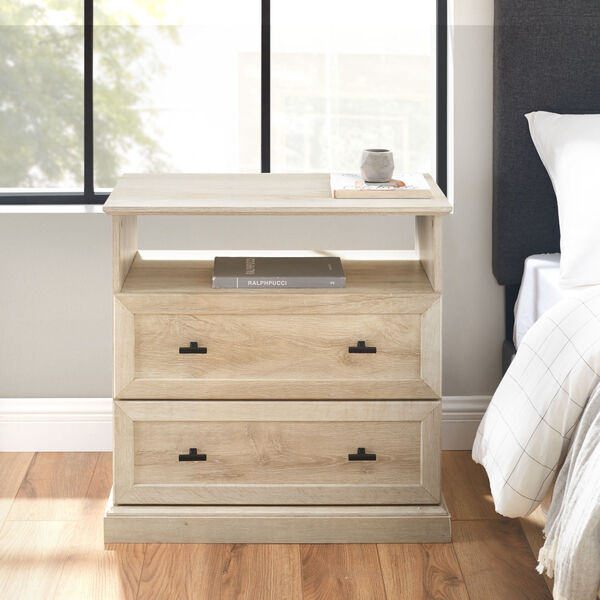 Clyde White Oak Nightstand with Two Drawers, image 1