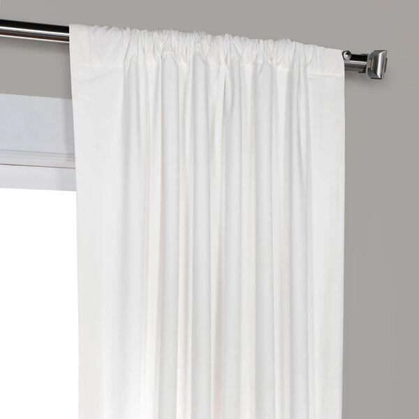 White 108 x 50 In. Plush Velvet Curtain Single Panel, image 8
