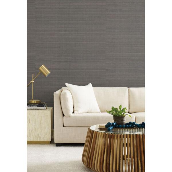 Antonina Vella Elegant Earth Charcoal Abaca Weaves Wallpaper, image 1