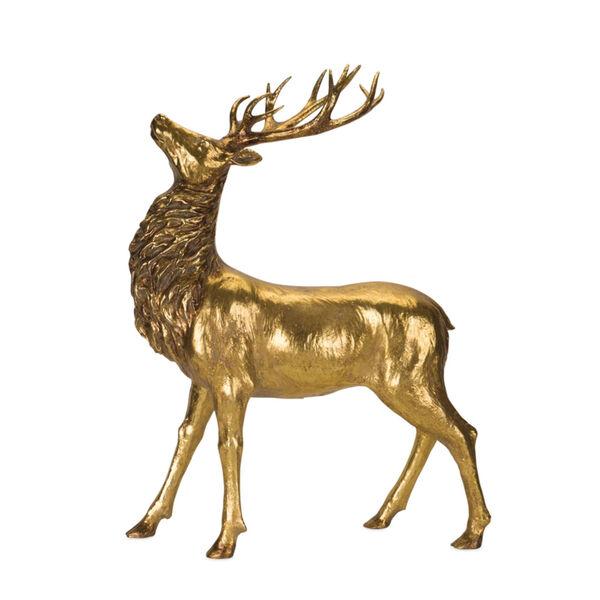 Gold and Black Standing Deer Figurine, image 1