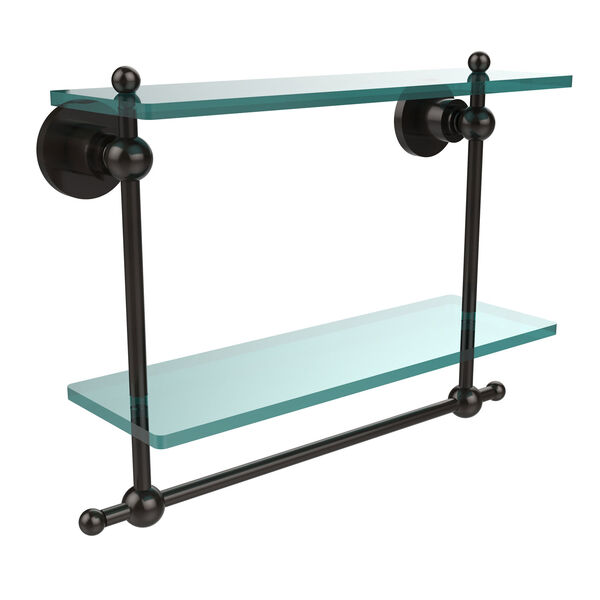 Oil Rubbed Bronze Double Shelf with Towel Bar, image 1