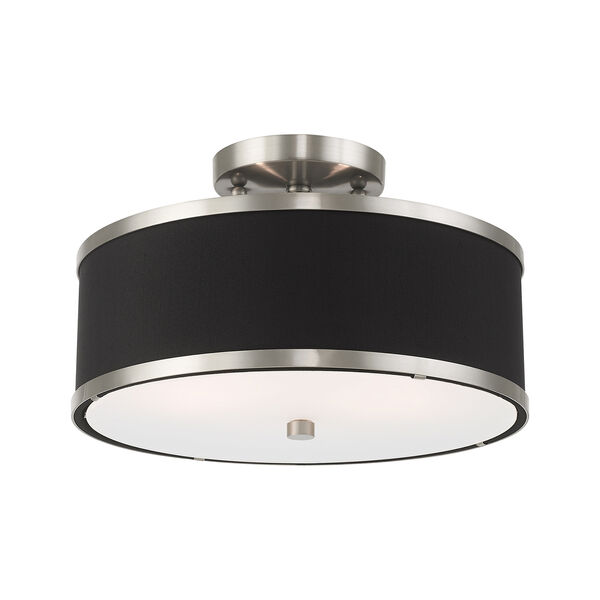 Park Ridge Brushed Nickel 13-Inch Two-Light Ceiling Mount with Hand Crafted Black Hardback Shade, image 3