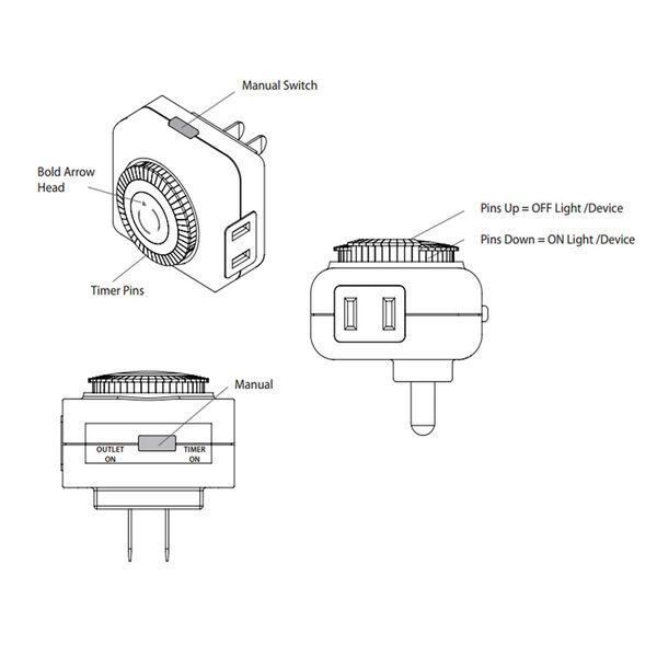 White Mechanical Timer for Landscape Power Supply, image 2