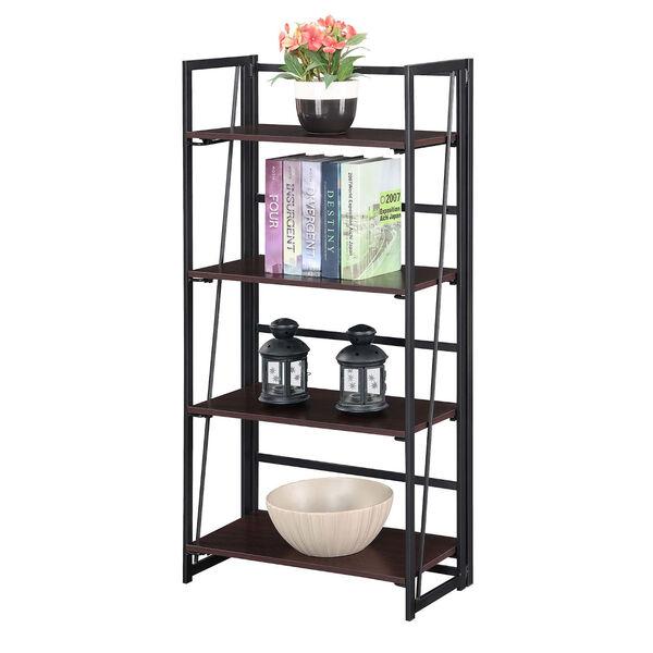 Xtra Espresso and Black Folding Four Tier Bookshelf, image 3