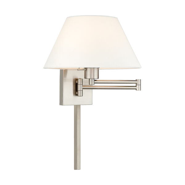 Swing Arm Wall Lamps Brushed Nickel 13-Inch One-Light Swing Arm Wall Lamp with Hand Crafted Off-White Hardback Shade, image 1