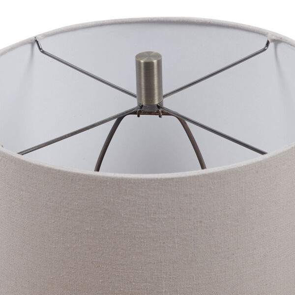 Lagos Brown and Light Brushed Brass One-Light Table Lamp with Round Drum Hardback Shade, image 5
