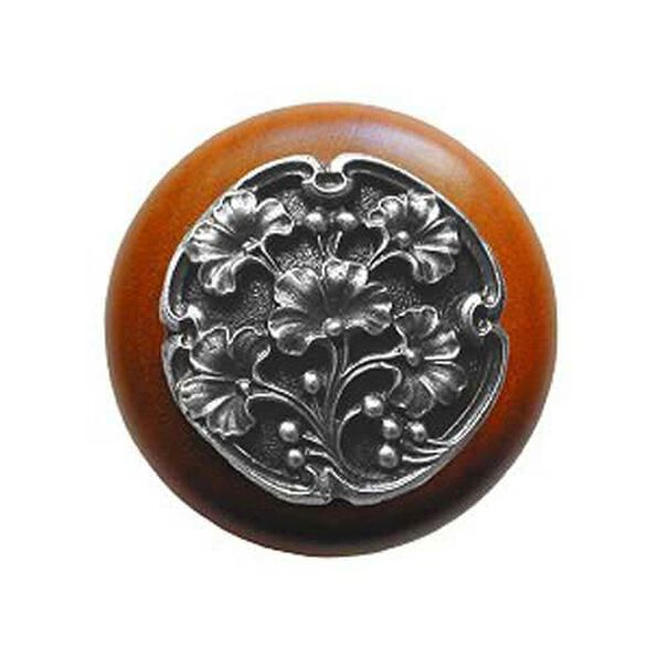 Cherry Wood Ginkgo Berry Knob with Antique Pewter, image 1