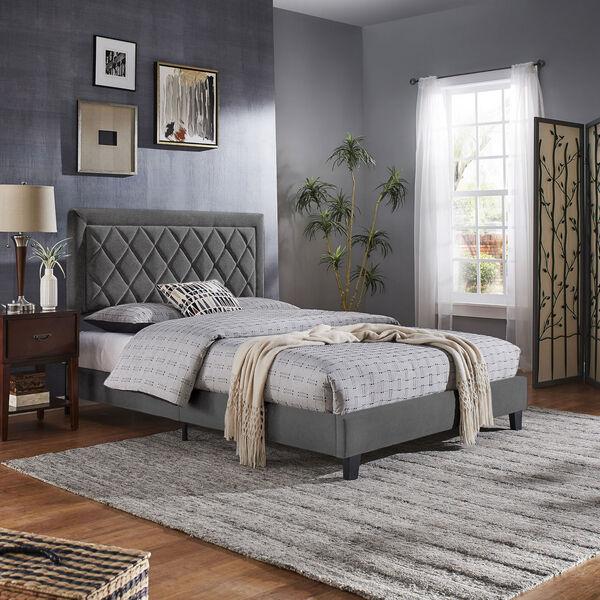 Lydia Gray and Black Full Velvet Platform Bed, image 6