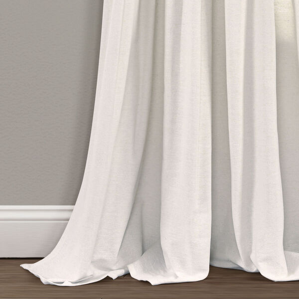 Linen Button Black and White 40 x 95 In. Single Window Curtain Panel, image 4