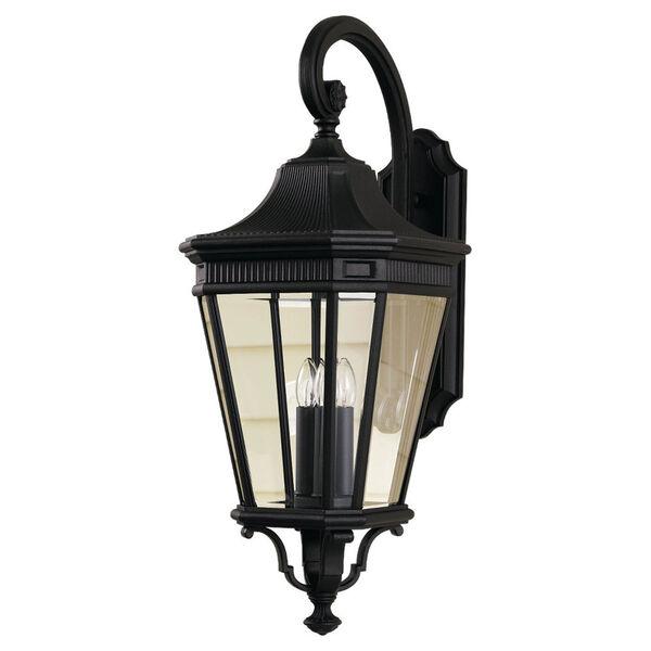 Cotswold Lane Black Outdoor Three-Light Wall Lantern Light, image 1