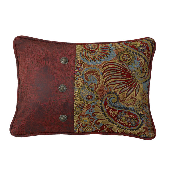 San Angelo Paisley and Red Faux Leather 16 x 21 In. Throw Pillow, image 1