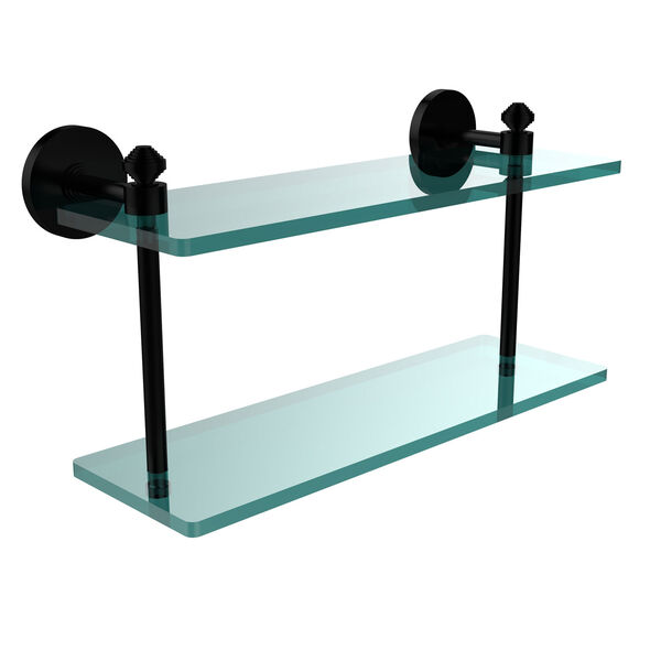 Southbeach Collection 16 Inch Two Tiered Glass Shelf, Matte Black, image 1