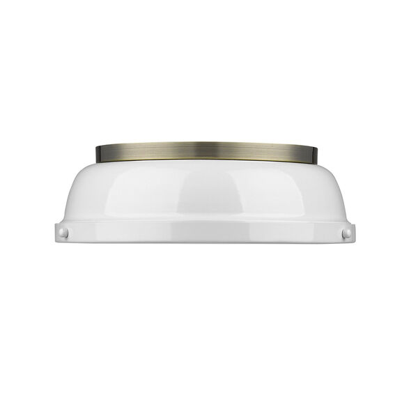 Duncan Aged Brass Two-Light Flush Mount with White Shades, image 2
