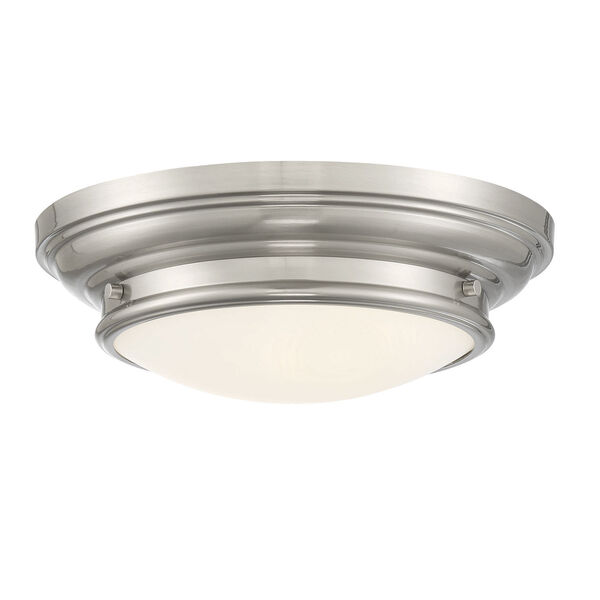 Whittier Brushed Nickel Two-Light Flush Mount with Round Glass, image 3