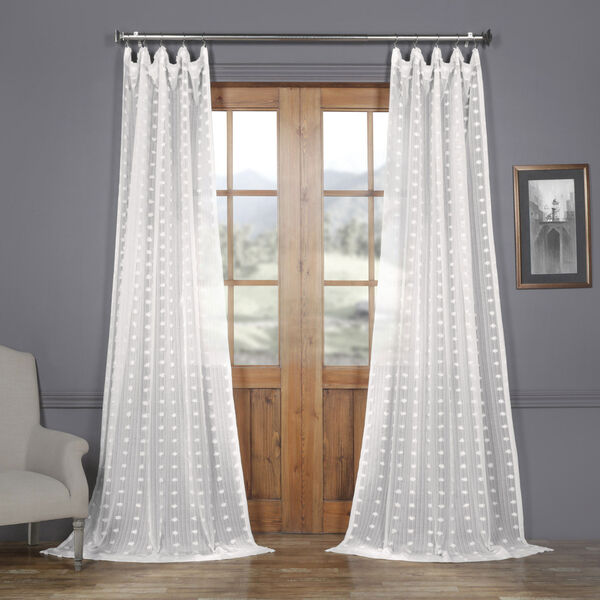 White Dot Patterned Faux Linen Sheer 108 x 50 In. Curtain Single Panel, image 1