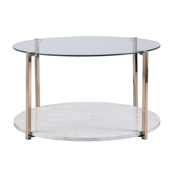 Avenida Gold with Gray Veined White Faux Marble Coffee Table, image 3