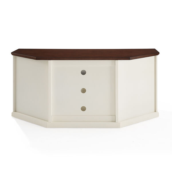 Shelby White Fiber Board and Birch Veneer TV Stand, image 2