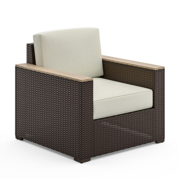 Palm Springs Brown Rattan Wood Three-Piece Outdoor Furniture Set, image 4