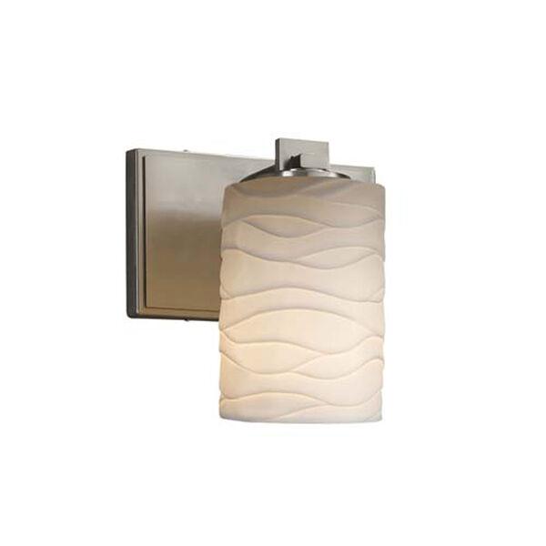 Limoges - Era Brushed Nickel LED LED Wall Sconce with Cylinder Flat Rim Waves Shade, image 1