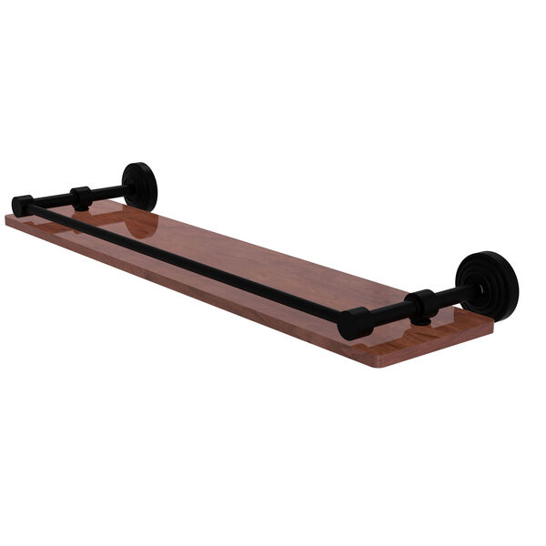 Waverly Place Matte Black 22-Inch Solid IPE Ironwood Shelf with Gallery Rail, image 1