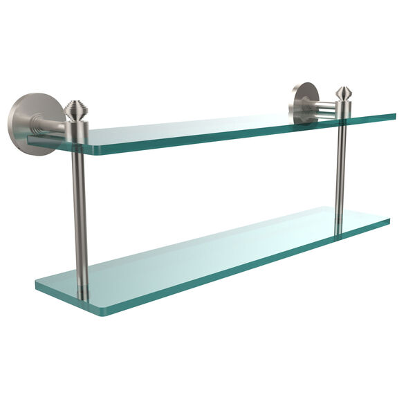 Southbeach Collection 22 Inch Two Tiered Glass Shelf, Satin Nickel, image 1