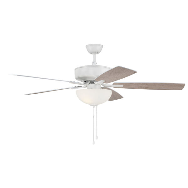 Pro Plus White 52-Inch Two-Light Ceiling Fan with White Frost Bowl Shade, image 5