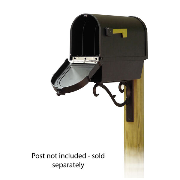 Curbside Black Mailbox with Front Address Numbers and Sorrento Front Single Mailbox Bracket, image 2