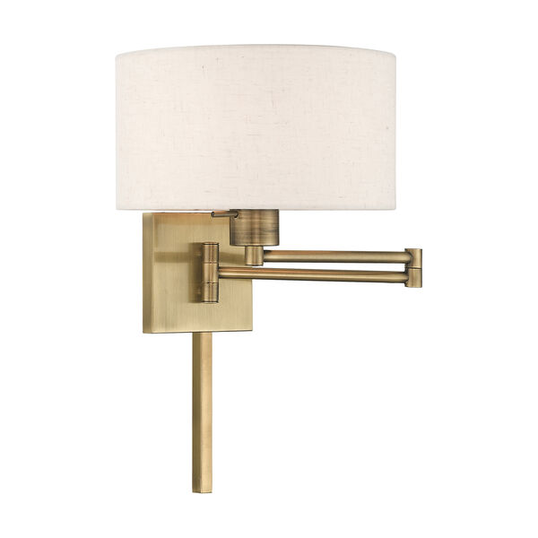 Swing Arm Wall Lamps Antique Brass 11-Inch One-Light Swing Arm Wall Lamp with Hand Crafted Oatmeal Hardback Shade, image 1