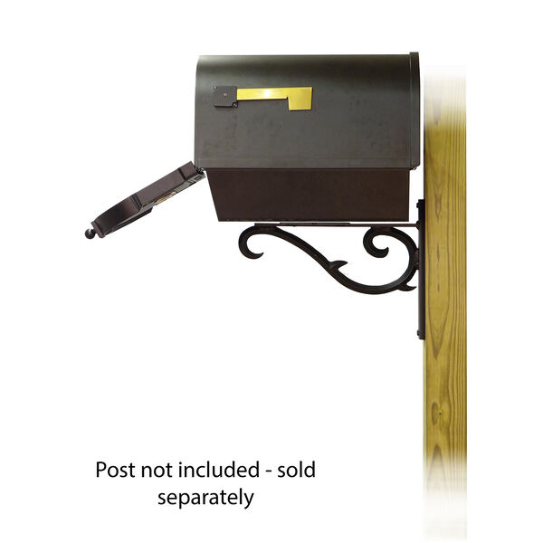Curbside Black Mailbox with Front Address Numbers and Sorrento Front Single Mailbox Bracket, image 4