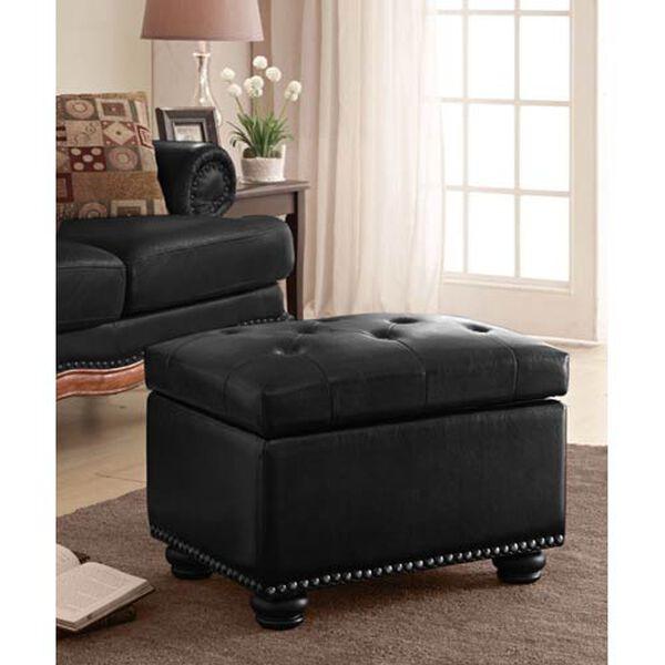 Designs4Comfort Black Fifth Avenue Storage Ottoman, image 4