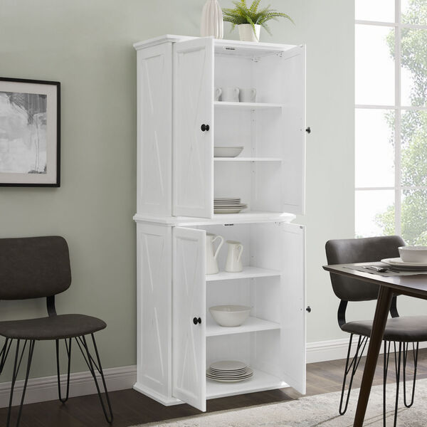 Clifton Distressed White Tall Kitchen Pantry, image 3