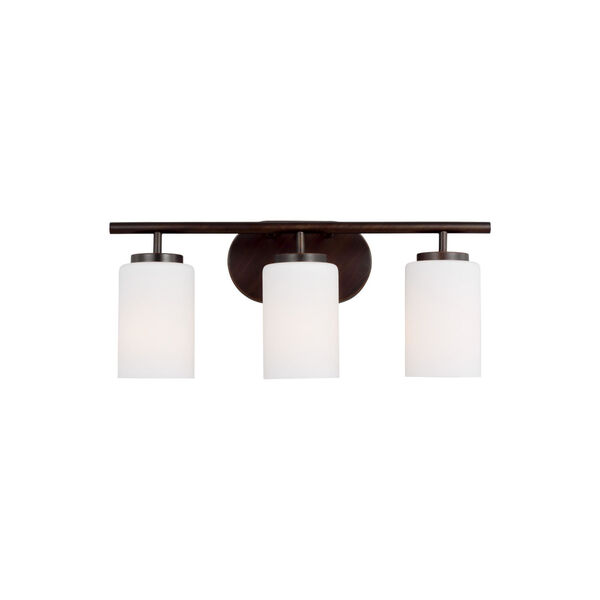 Oslo Bronze Three-Light Bath Vanity with Cased Opal Etched Shade, image 1