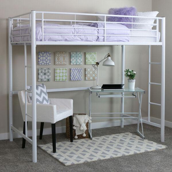 Sunset White Metal Twin Loft Bunk Bed, image 1