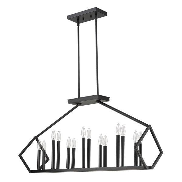Luca Matte Black 14-Light Pendant, image 1