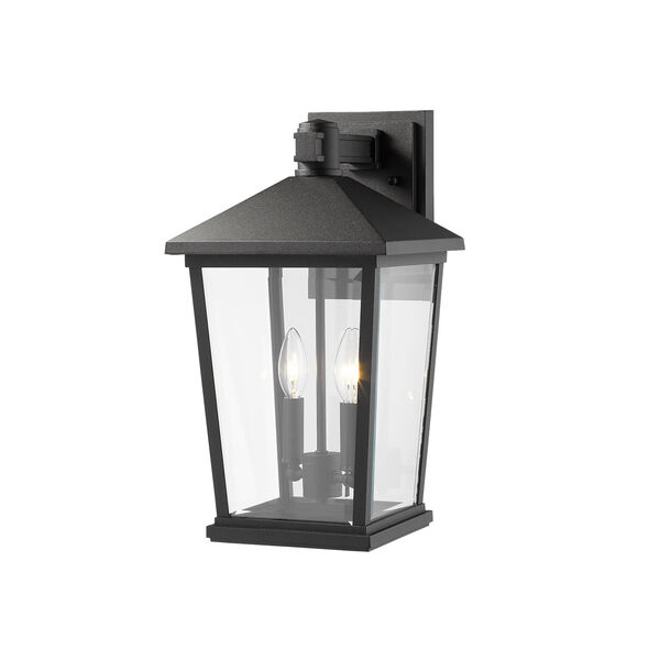 Beacon Black Two-Light Outdoor Wall Sconce With Transparent Beveled Glass, image 4