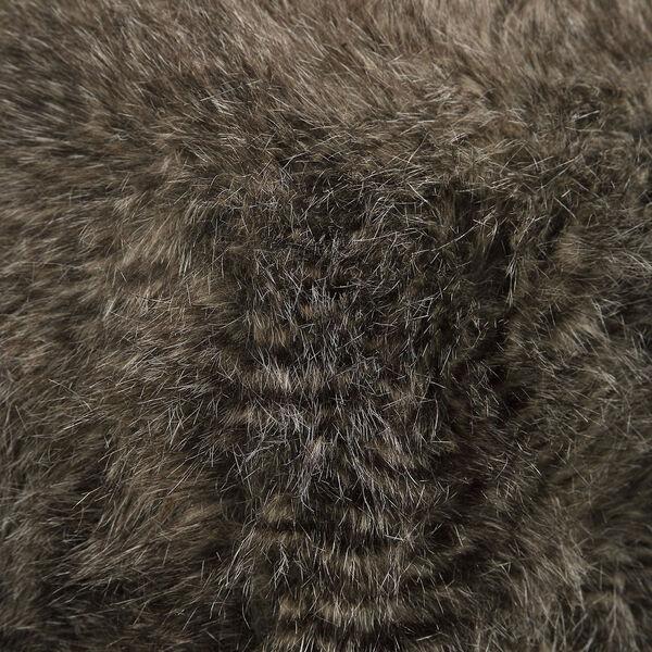 Jayna Charcoal Brown Fur Ottoman, image 4